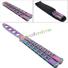 New Rainbow Practice BALISONG METAL BUTTERFLY Steel Trainer Knife With Sheath
