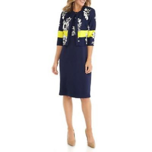 NWT DANNY & NICOLE NAVY BLUE WHITE FLORAL CAREER JACKET DRESS SIZE  14 16 18