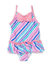 NEW Juicy Couture Girls Striped Bow 1pc Skirted Swimsuit Size 18-24 M