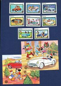 REDONDA - ANTIGUA - VF MNH set & S/S - 1950's Cars, Mickey Mouse - 1990