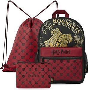 Harry Potter Backpack School Bag Set with Drawstring Gym Bag and Pencil Case