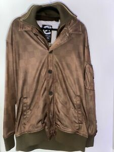 Ecko Unltd Brown Checkered Jacket Size XL with Buttons and Pockets