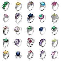 Sz 6-10 CZ Ring Sapphire Amethyst 925 Solid Silver Women White Gold Wedding