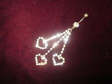 Rhinestone Belly Button Ring Silver Crystal CZ 3 Hearts Dangling Charm BLiNG