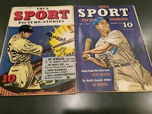 TWO ISSUES TRUE SPORT PICTURE STORIES 1942 DIMAGGIO