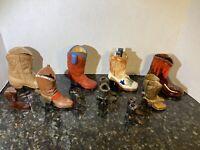Lot Of Vintage Metal Pewter Wood Ceramic Men's Miniature Cowboy Boots Collection
