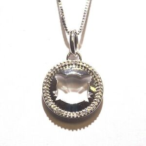 925 Sterling Silver .11ct SIG halo diamond Cat Face pendant necklace 3.5g womens