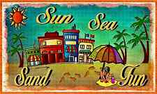 *Sun Sea* Made In Hawaii! Metal Sign 8X12 Welcome Aloha Luau Waikiki Maui Kona