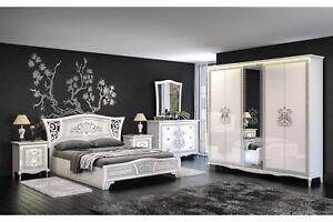 Italienisches Schlafzimmer Komplett Vintage 6-Teilig Weiß/Hochglanz