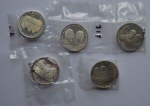1969 Lunar Landing 5 Silver Medallion Apollo Full Set to honour the Astronauts