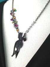 Bow And Arrow Necklace Colorful Rhinestone Bursts Boho Vintage Assemblage