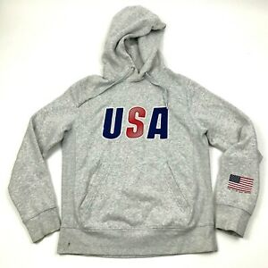 USA Hoodie Sweater Size Extra Small XS Gray Hooded Sweatshirt Pullover Stitched