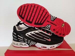 NIKE MEN'S AIR MAX PLUS III BLACK /TRACK RED/WHT CJ0601 001 SIZE: 9