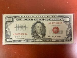1966 $100 RED SEAL US Note -NICE HIGHER GRADE  ONE HUNDRED