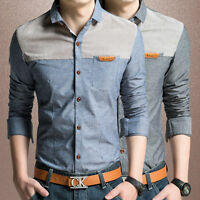 Mens Dress Long Sleeves Shirts Luxury Camisas Casual Slim Cotton Multicolor 6272