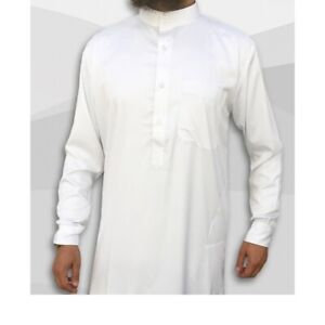 Mens boys Thobes Jubba Long Islamic clothing Collar White Brown Embroided 32 40