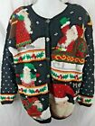 Northern Isles Ugly Christmas Santa Hand Knitted Sweater Size Medium Petite