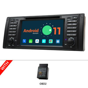 """OBD+7"""" IPS Android 11 Auto Car GPS DVD DSP CarPlay For BMW 5 Series E39 528 540"""