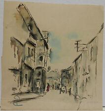 Dessin Original Aquarelle PAUL COUVREUR - La Rue - 1930 - PC89