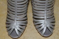 $1190! NEW CHANEL Patent GREY CAGE SHOES Sandals Booties  BOOTS 38 8 7.5 CC logo