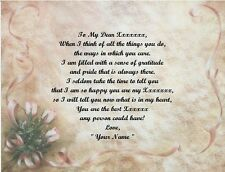 Lace Roses Personalized Poem Gift 4 Father's Day,Mother's Day,Christmas,Birthday