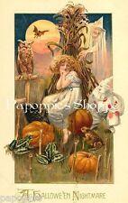 Fabric Block Halloween Vintage Postcard Image Cornstalk