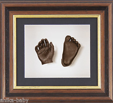 New Baby Casting Kit Gift Bronze 3D Foot Casts Mahogany Dark Wood effect Frame