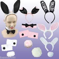 Bunny Girl  Rabbit Set Fancy Dress Costume Ears Hen Party Set Lace Cuff Tail Tie
