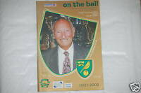 Norwich V Walsall Programa 1st Jan 2002