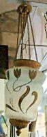 eccezionale LAMPADARIO LIBERTY vetro decorato oro ed ottone originale primi 900