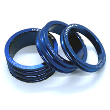 Token 1 1/8 Inch Alloy Headset Spacers - Blue Anodized - 15mm / 10mm / 5mm