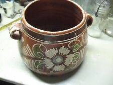 ANTIQUE  MEXICAN    CLAY  OLLA     FRIJOLES  POT   HAND  PAINTED