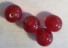 VINTAGE RARE HAND MADE JAPANESE CARNELIAN RED GLASS BEADS - 10 PCS