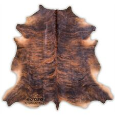 SUPERIOR   HAIR ON SKIN  cowhide RUG  Dark BRINDLE size approx 6X7- 7x7 feet
