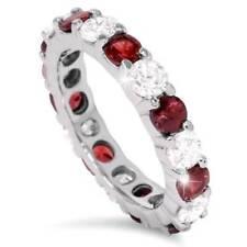 2 Ct Ruby & Eternidade Anel De Diamante 14K Ouro Branco Aliança Feminina Empilhável