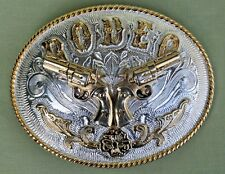 "Vintage ""RODEO"" Western Belt Buckle Colt 45 Silver / Gold Colour"