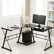 Black L-Shape Glass Corner Computer Desk Laptop PC Table Workstation Home Office