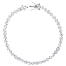 "925 Sterling Silver Milgrain Bezel Created Diamond 6mm Tennis Bracelet 7"""