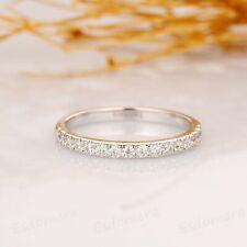 0.24 TCW Round Cut DVVS1 Moissanite Band Engagement In 14k White Gold Plated