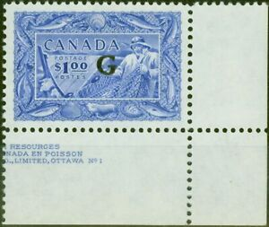 Canada 1951 $1 Ultramarine SG0192 V.F MNH Corner Marginal Part Imprint