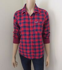 Hollister Womens Plaid Shirt Size Small Top Shirt Red & Blue Blouse