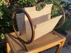 Vintage Rattan Magazine Rack Stand Holder Basket Fabric Linen Bamboo Book Record
