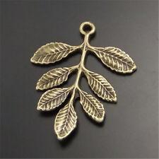 20 Stk Weinlese Bronze Ton Legierung Baum Blatt Form Anhänger Charme Schmuck