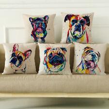 "18"" Watercolor Linen Throw Pillow Case French Bulldog Sofa Cushion Cover New"