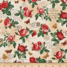 TWO YARDS-Heirloom Diary Rose Cluster Fabric Robert Kaufman 16068-199 Antique