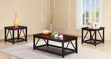 The Room Style 3Pc Metal Frame Coffee Table Set with 2 End Tables in 2 Colors