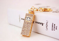 Sparkling Crystal Diamante Gold Perfume Bottle Handbag Charm Bag Pendant Keyring