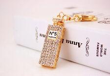 Sparkling Crystal Diamante Gold Perfume Bottle Handbag Charm Bag Pendant Keyring