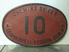 RARE plaque de train LEOPOLDVILLE-KATANGA-DILOLO  n° 10