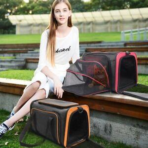 Solf-Side Expandable Foldable Pet Travel Carrier Handbag Kennel Cat Dog Bag+Mat